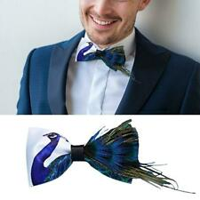 Peacock Feather Bow Tie Men's Tuxedo Dress Animal Bowtie Cravat! Party Wedd W8H5