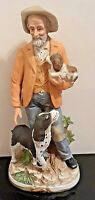 """Vintage Homco 11"""" Farmhouse Old Farmer With Dog and Puppy #8811 Porcelain"""