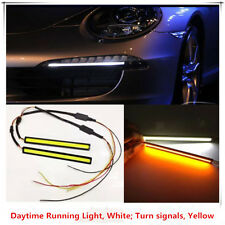 2x17cm COB LED Auto DRL Driving Daylight Daytime Running Safety+Turn Signal Lamp