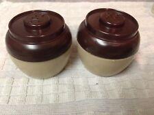 Vintage Salt & Pepper Shakers Set Admiration Co. Usa Brown Bean Pot Plastic