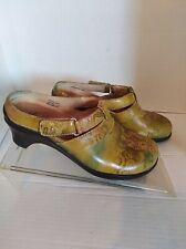 Aravon New Balance Floral Leather Slip on Slides Clog Size 7
