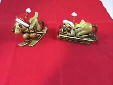 Vintage NORCREST Christmas Cougar Dog Cat Figurines Japan Skiing Santa Hat
