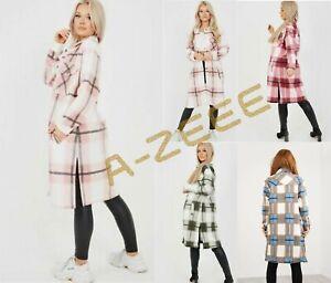 Womens Check Fleece Casual Longline Jacket Shacket Top Shirt Coat Oversize Baggy
