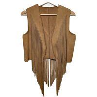 Vintage Western Suede Fringe Vest Brown Women's Size M Medium