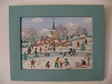 "Charlotte Julian - ""Le bonhomme de neige"" - Art Naïf - Acrylique - Tableau -"