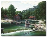 Gone Fishing Rustic River Bridge Landscape Wall Decor Art Print Poster (16x20)