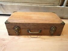 Very Heavy Antique Divided Wood Box Slides / Cards / Recipes Storage Briefcase