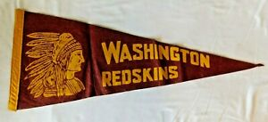 1950s WASHINGTON REDSKINS Pennant Flag *early chief Logo* football NFL sports