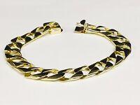 "14kt solid Yellow Gold Handmade Curb Link Mens Bracelet 8.5"" 28 Grams 11MM"