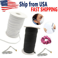 Braided Elastic Band 1/4 Inch (6mm) Cord for Sewing Mask White Black 10 70 Yard