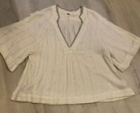 Free People Boho Sequins Silver Thread Ivory Top Gorgeous Xs