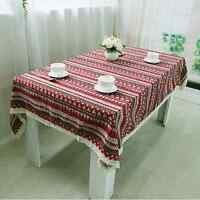 Elegant Ethnic Style Red Dinning Coffee Table Cotton Linen Cloth Covering O