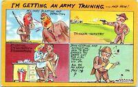 WW2 Army Military Comic Linen Postcard Im Getting an Army Training JP