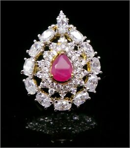 Cubic Zirconia Exclusive Designer Red Yellow Gold Plated Ring 12 RR 13