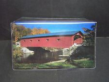 OLD RED COVERED BRIDGE IN FALL  IMAGE 1  VINYL CHECKBOOK COVER
