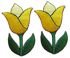 #3927Ly Lot 2Pcs Yellow Tulip Flower Embroidery Iron On Applique Patch