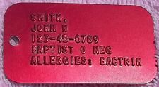 Red Aluminum Military Medical Alert Info  Dog Tag Dogtag Customized Personalized