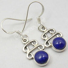 """925 Sterling Silver LAPIS LAZULI WELL-MADE TRADITIONAL Dangle Earrings 1.3"""""""