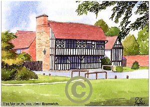 """THE MANOR HOUSE WEST BROMWICH WEST MIDS ARTIST'S PRINT GREETINGS CARD 8""""x 6"""""""
