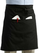Half Plain Black Apron With Pocket Professional Restaurant Waiters Polycotton