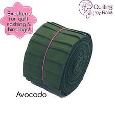 """20 x 2.5"""" Avocado Green Jelly Roll PreCut Fabric Strips, 2.5 inch x WOF, Die Cut"""