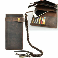 Men Cowhide Leather Long Biker Trucker Chain Wallet Checkbook Purse Card
