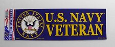 US Navy Veteran USN Bumper Sticker made in the USA 9 x 3.25 inches