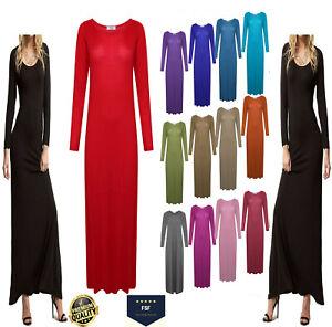 WOMENS LADIES STRETCHY LONG SLEEVE  PLAIN JERSEY LONG MAXI DRESS PLUS SIZE 8-26