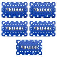 15 Ct Square Rectangular 32 Gram $10,000 Blue Poker Plaques Square Chips