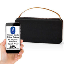 45W Bluetooth Speaker & Subwoofer -Wood- Wireless Portable Rechargeable BASS AUX