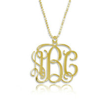 Monogram Necklace in 18kt Gold Plated Sterling Silver -Personalized (USA Seller)