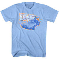 Back To The Future Delorean Car Time Machine Men's T Shirt Orange Movie Logo Top