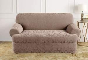 Sure Fit Stretch Jacquard Damask T cushion Sofa Slipcover mushroom tan washable