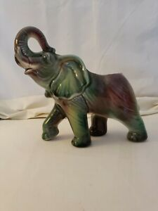 Vintage 1950's Large Raise Trunk Multi-colored Ceramic Elephant Planter
