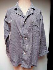 Vtg Surrey Men's Pajama Top Cotton Blend Stripes Black Navy White L Euc