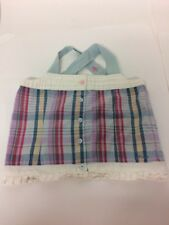 Joules Girls Blue Check Button Back Top Age 7 Cross Straps 100% Cotton Frill