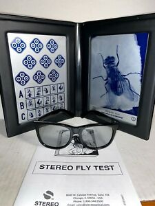 Stereo Optical Fly Stereotest -With TEST, GLASSES, & PAMPHLET-  SO001- TOP BOX