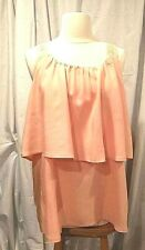 Sleeveless peach top, 2-tier,  lace straps, rayon - XL NWOT