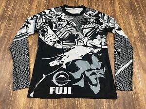 Fuji Brand Black/Gray/White Long Sleeve Rashguard Shirt - Medium