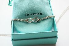 Tiffany & Co Sterling Silver Infinity Pendant Double Chain Necklace w/ Pouch