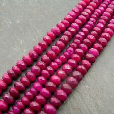 "Ruby AA Grade Faceted Rondelle Beads 14.5"" Strand Precious Gemstone"