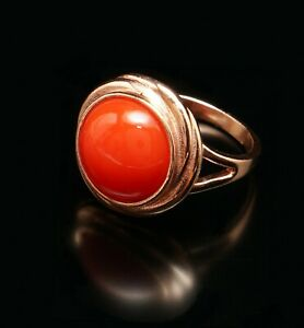 Red Coral Glass 14 Rose Gold Filled Large Round Ring  7N