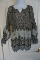 Umgee Black and Gray Tunic Long Sleeve Blouse Pleated Size L