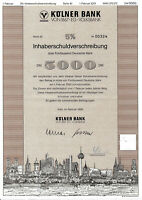 Kölner Bank von 1867 Inhaberschuldverschreibung 1996 Köln Volksbank Anleihe NRW