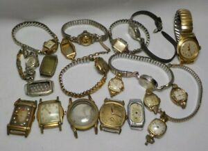 VTG LOT OF 16 MEN LADIES RGP GOLD PLATED WRIST WATCHES G.F BANDS SCRAP RECOVERY