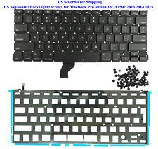 "US Keyboard+BackLight+Screws for MacBook Pro Retina 13"" A1502 2013 2014 2015 New"