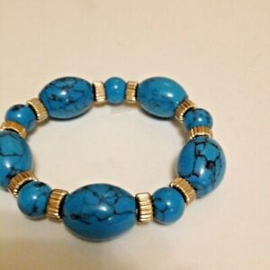 """Stretch Bracelet Gold Filled Spacers with Blue 1""""W Faux Turquoise Beads  7-7.5"""""""