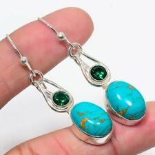 """Copper Turquoise, Emerald 925 Sterling Silver Earring 2.2"""""""