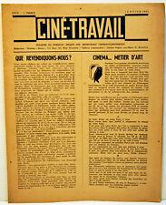 "RARE document CORPORATIF "" CINE TRAVAIL  "" - 01/1945 - collector - 6 pages"