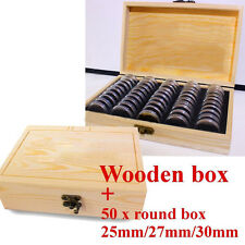 Wood Coins Display Storage Box Wooden Case 50 Round Boxes Storing Coins Slab $
